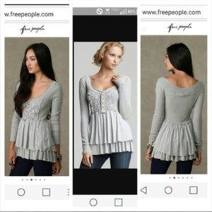 Free people level heart babydoll peplum thermal